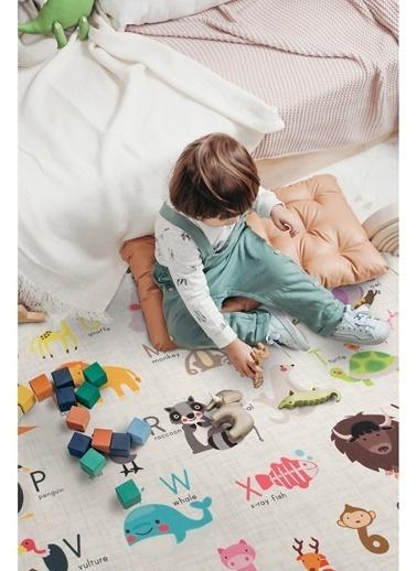 Hamur Animals 150x150 cm Oyun Matı Bebek ve Çocuk Halısı Gri